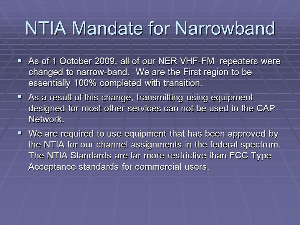 NTIA Mandate for Narrowband