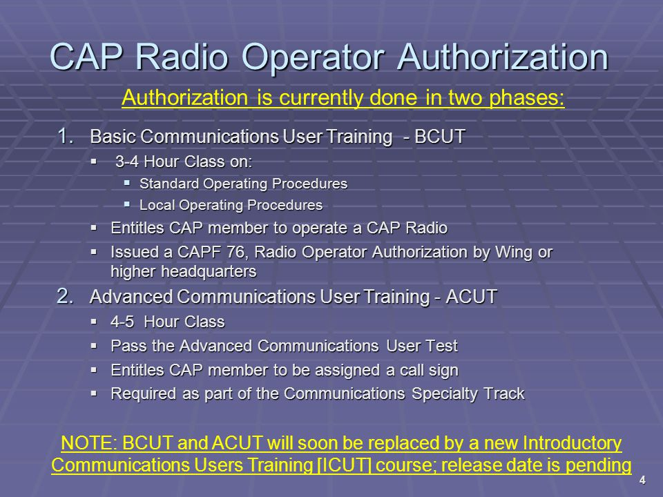 CAP Radio Operator Authorization