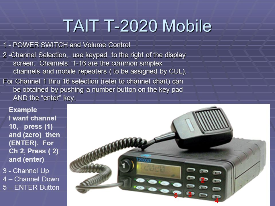 TAIT T-2020 Mobile 1 - POWER SWITCH and Volume Control