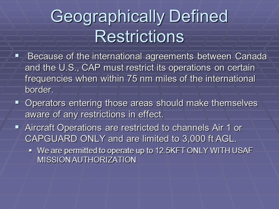 Geographically Defined Restrictions