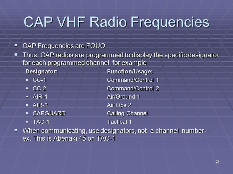 CAP VHF Radio Frequencies