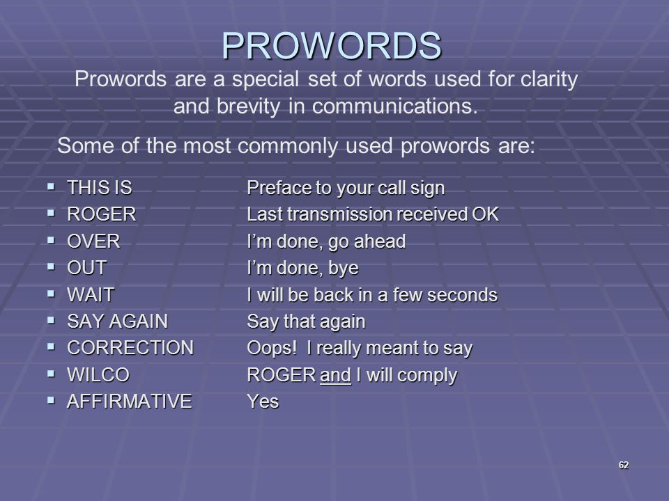 PROWORDS Prowords are a special set of words used for clarity and brevity in communications. Some of the most commonly used prowords are: