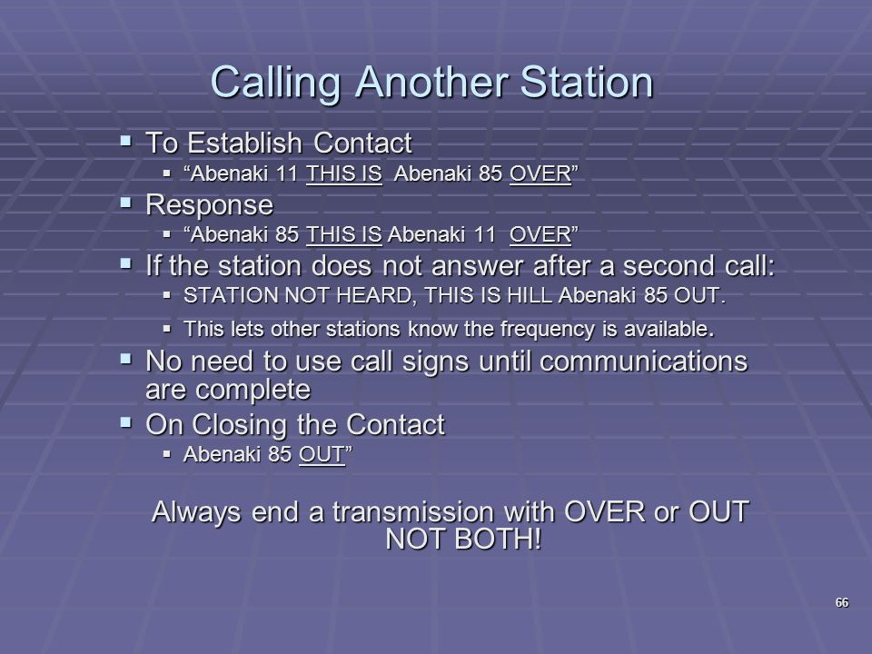 Calling Another Station