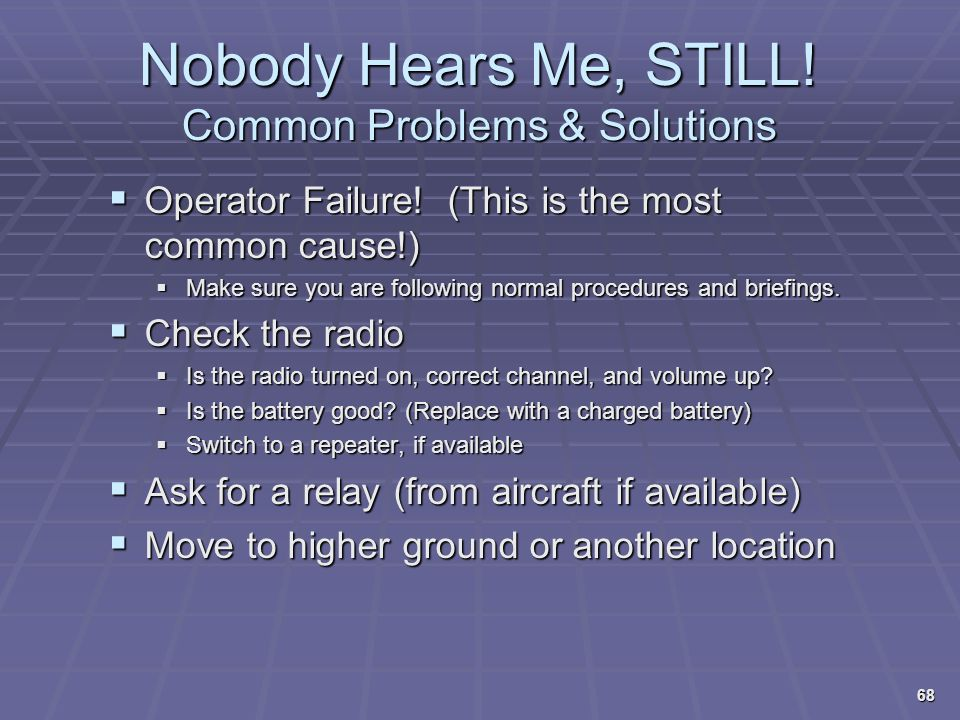 Nobody Hears Me, STILL! Common Problems & Solutions