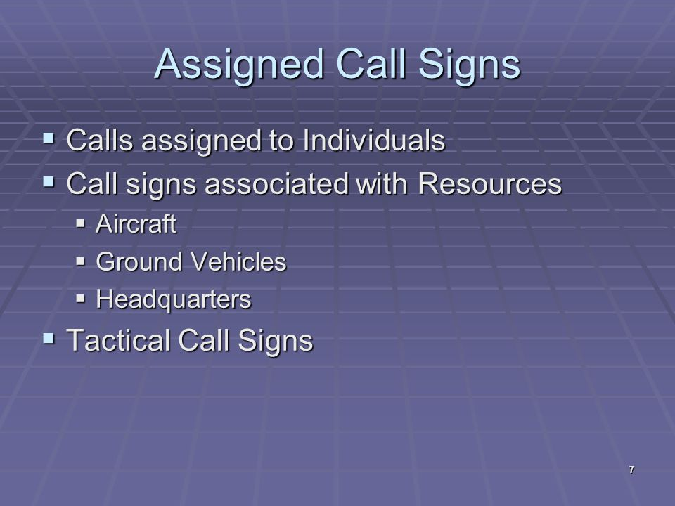 Assigned Call Signs Calls assigned to Individuals