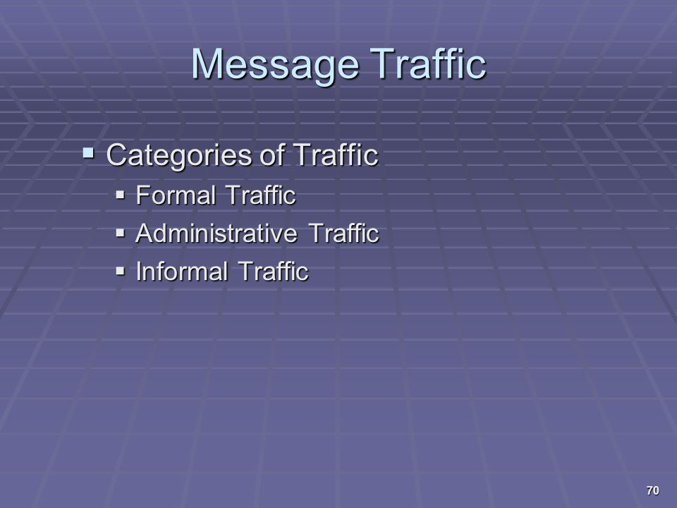 Message Traffic Categories of Traffic Formal Traffic