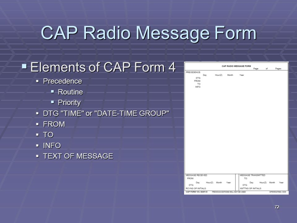 CAP Radio Message Form Elements of CAP Form 4 Precedence Routine