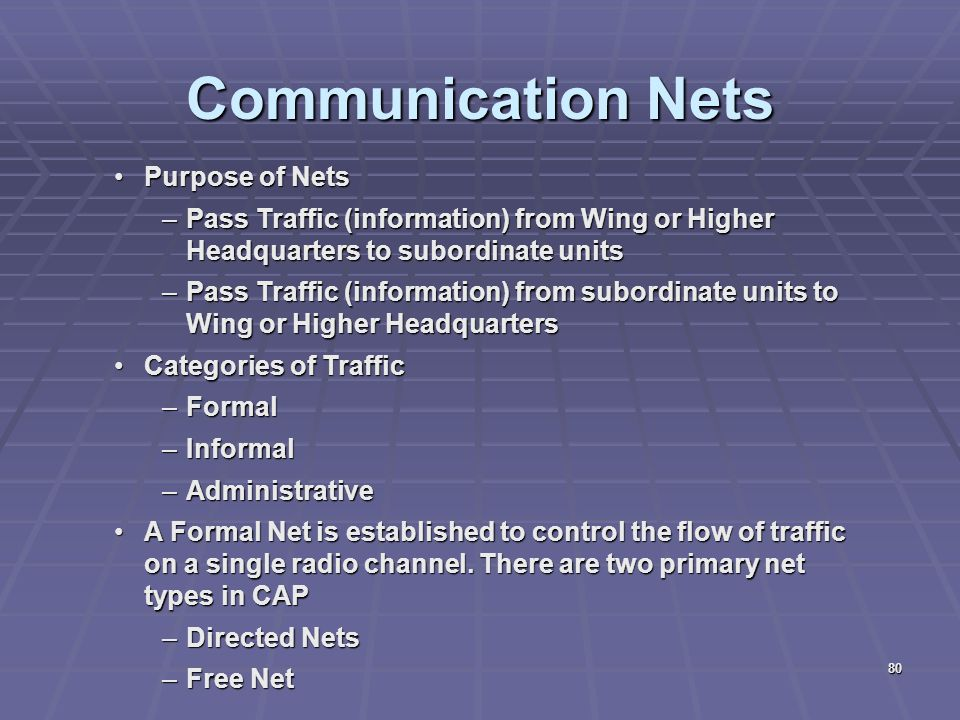 Communication Nets Purpose of Nets