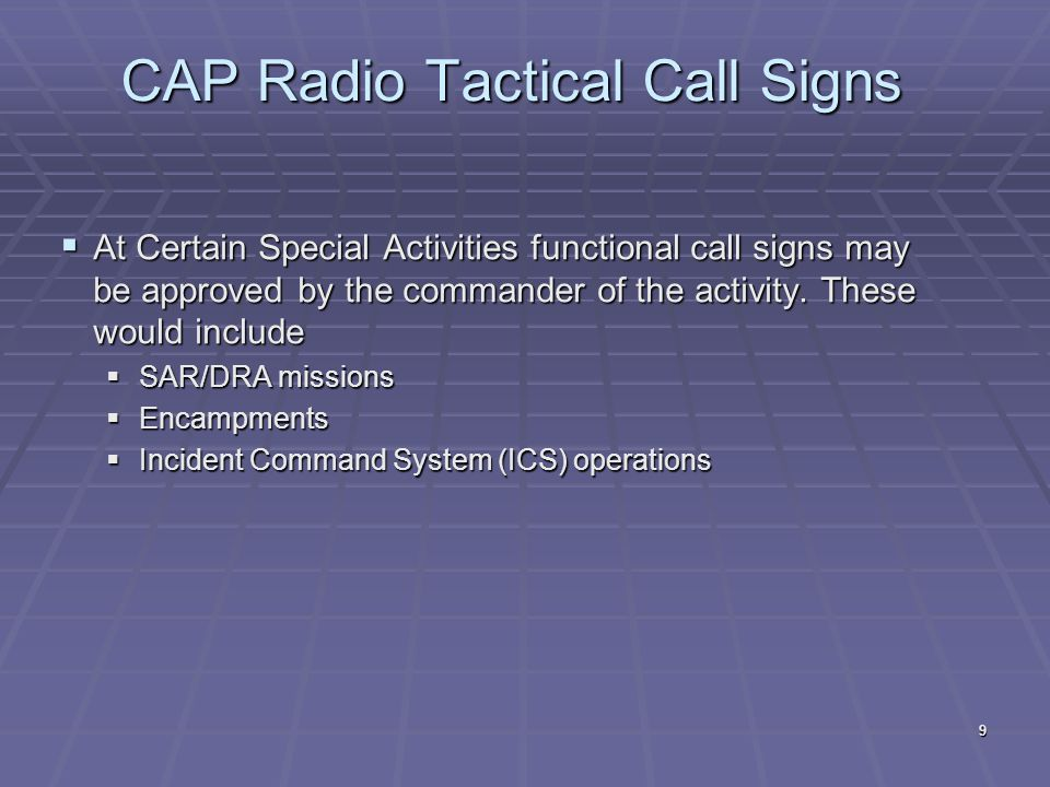 CAP Radio Tactical Call Signs