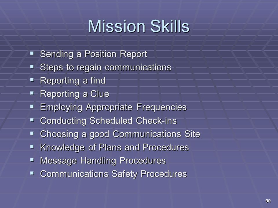Mission Skills Sending a Position Report