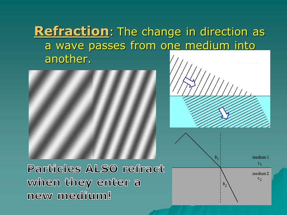 Refraction: The change in direction as a wave passes from one medium into another.
