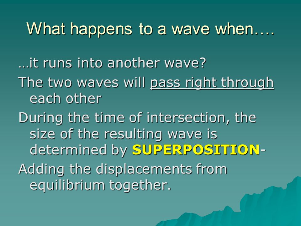 What happens to a wave when….