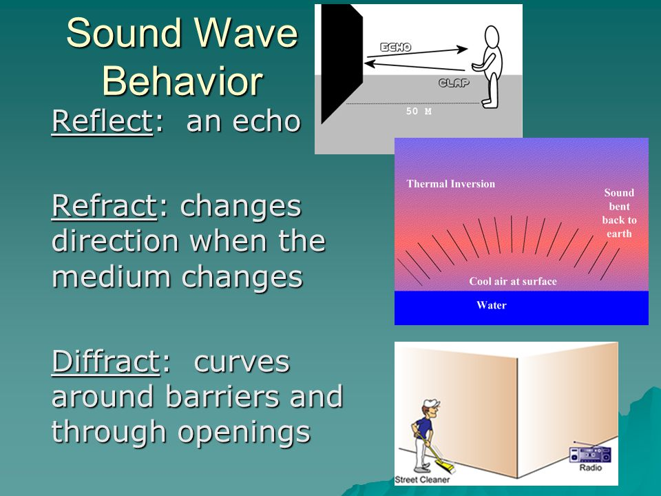 Sound Wave Behavior Reflect: an echo Refract: changes direction when the medium changes Diffract: curves around barriers and through openings