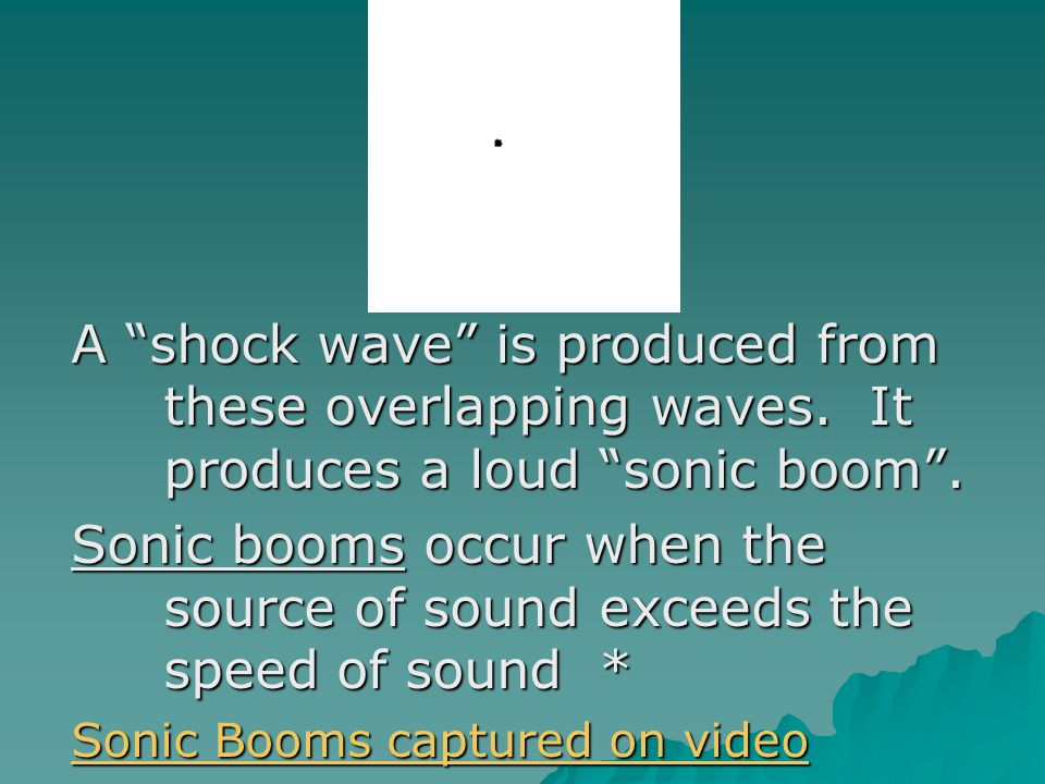 A shock wave is produced from these overlapping waves