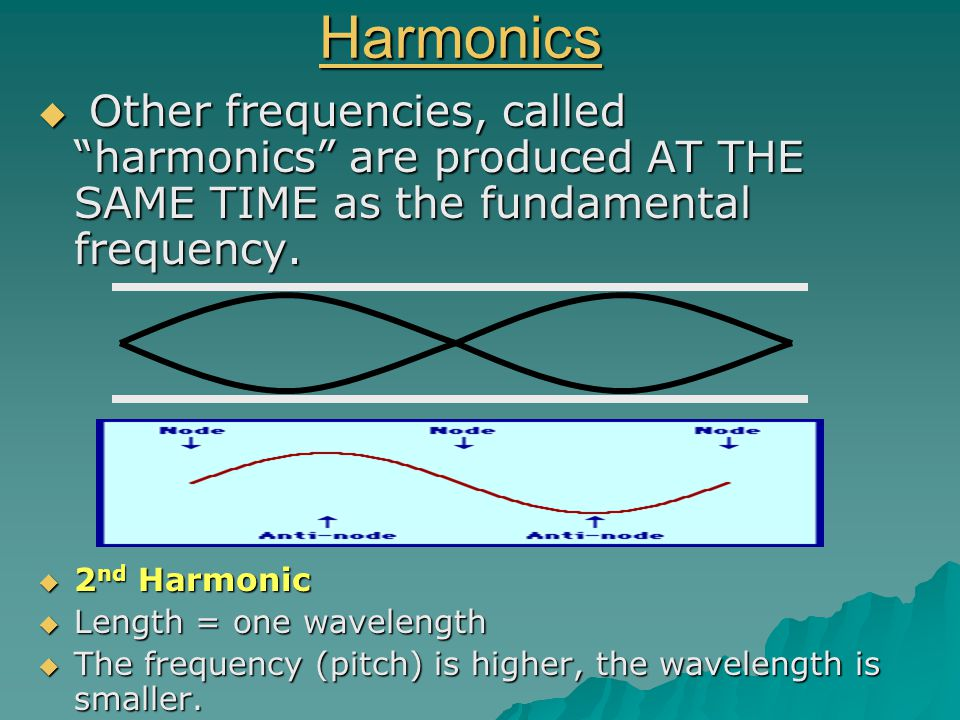 Harmonics Other frequencies, called harmonics are produced AT THE SAME TIME as the fundamental frequency.