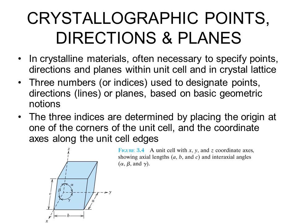 CRYSTALLOGRAPHIC POINTS, DIRECTIONS & PLANES