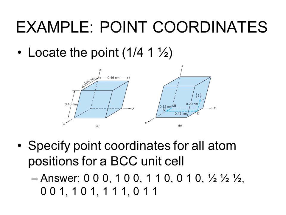 EXAMPLE: POINT COORDINATES