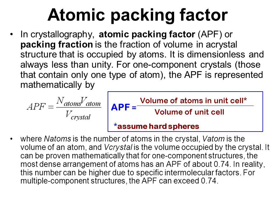 Atomic packing factor