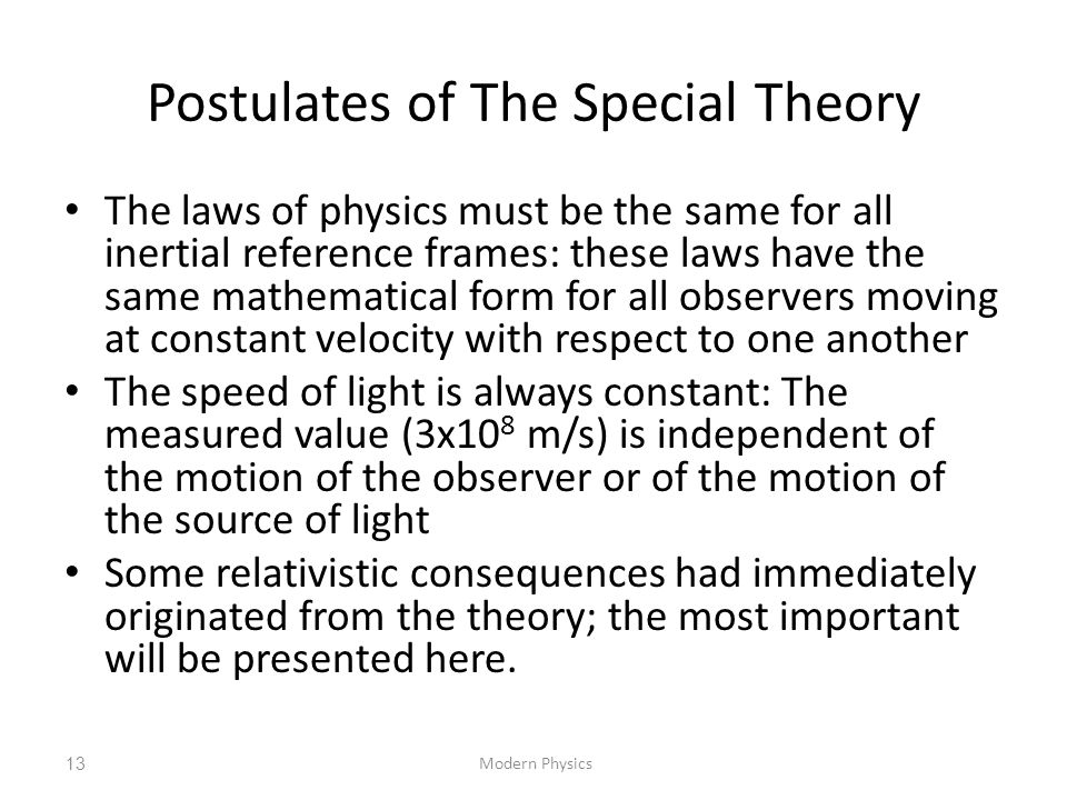 Postulates of The Special Theory