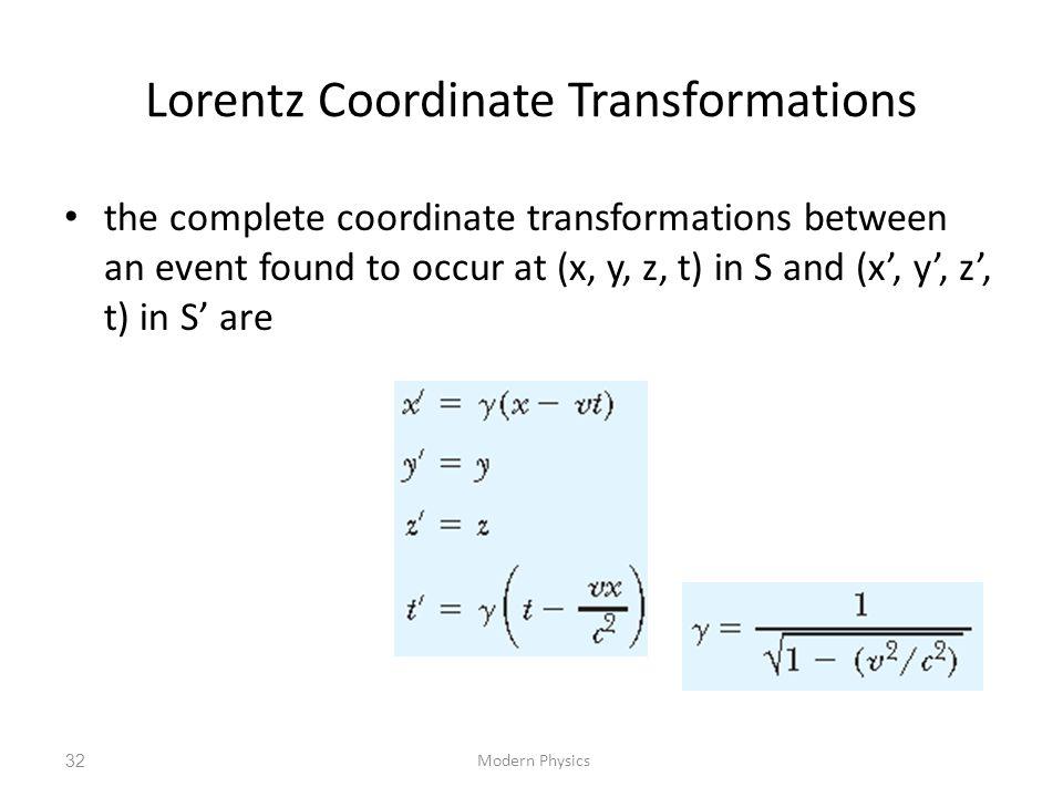 Lorentz Coordinate Transformations