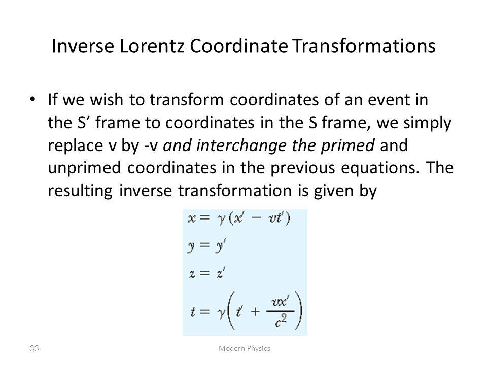 Inverse Lorentz Coordinate Transformations