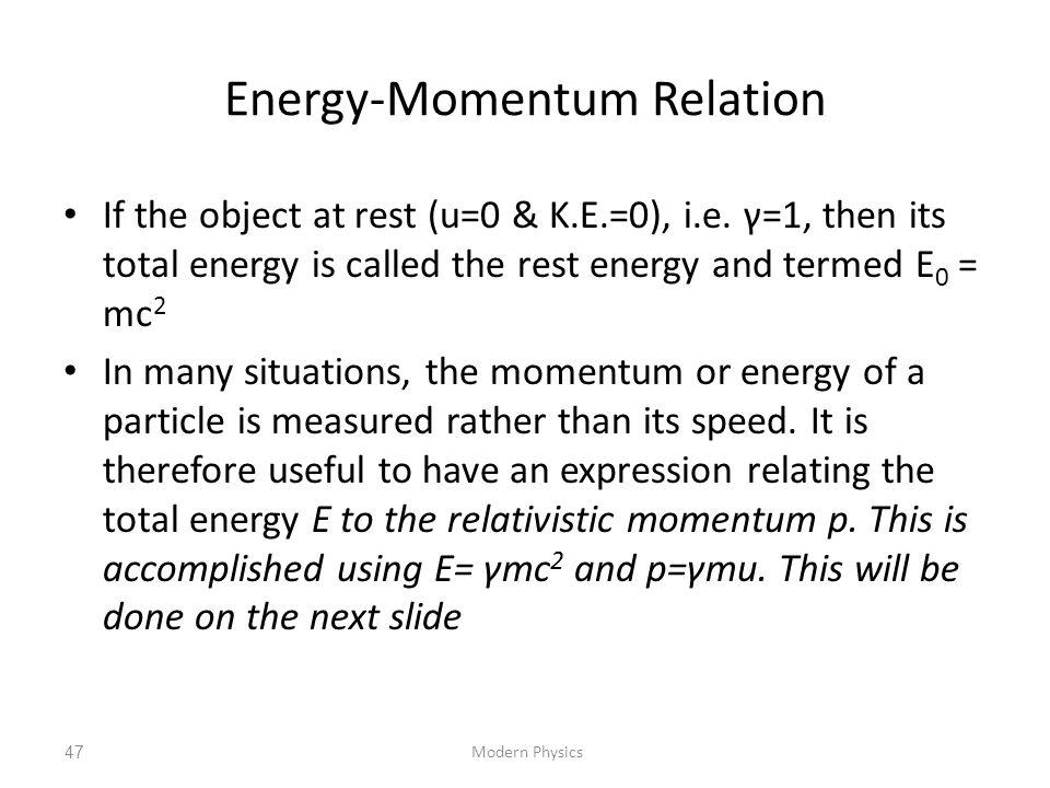 Energy-Momentum Relation