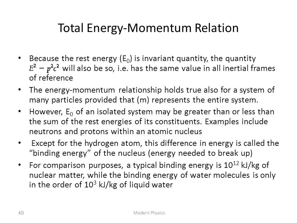 Total Energy-Momentum Relation