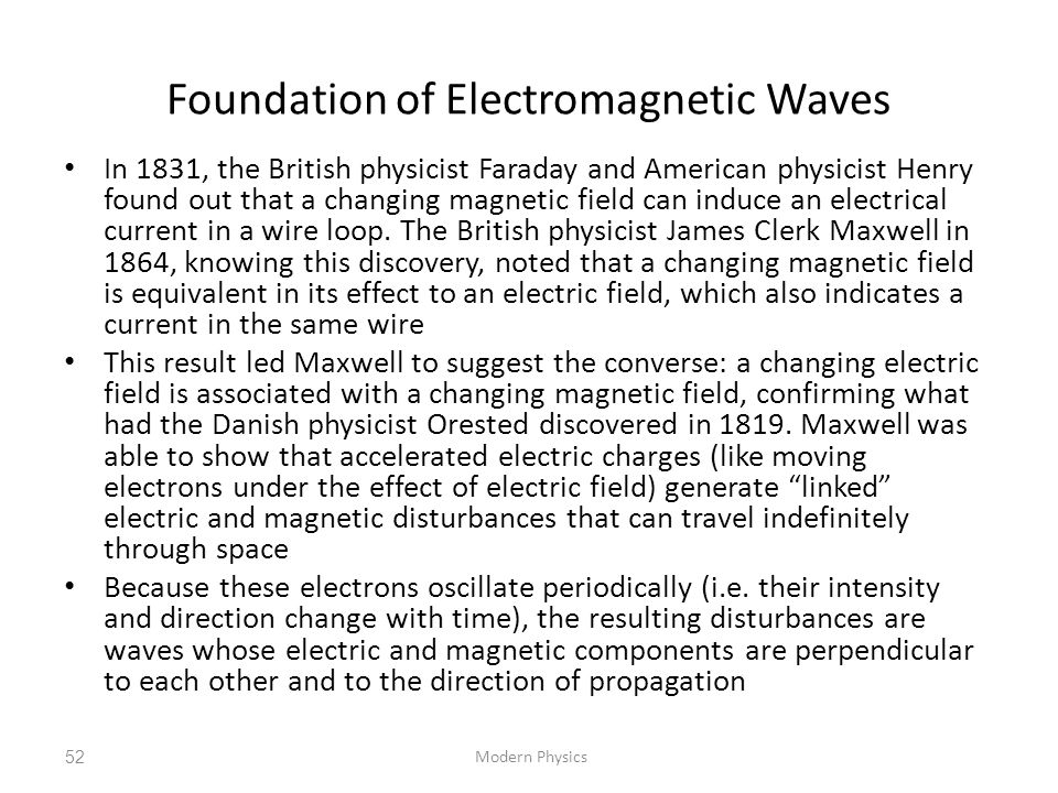 Foundation of Electromagnetic Waves