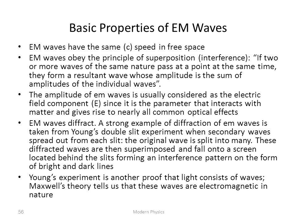 Basic Properties of EM Waves