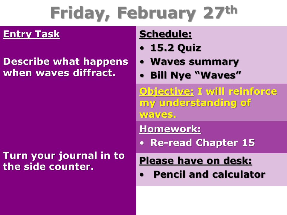 Friday, February 27th Entry Task Describe what happens when waves diffract. Turn your journal in to the side counter.