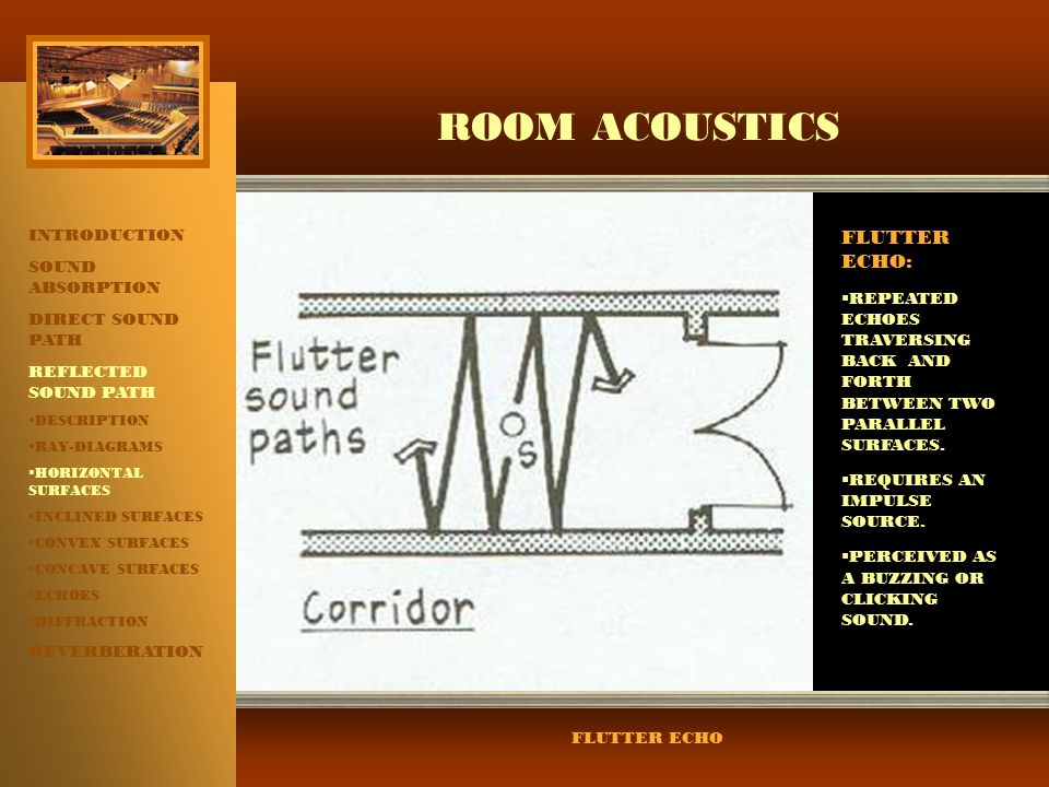 ROOM ACOUSTICS FLUTTER ECHO: INTRODUCTION SOUND ABSORPTION