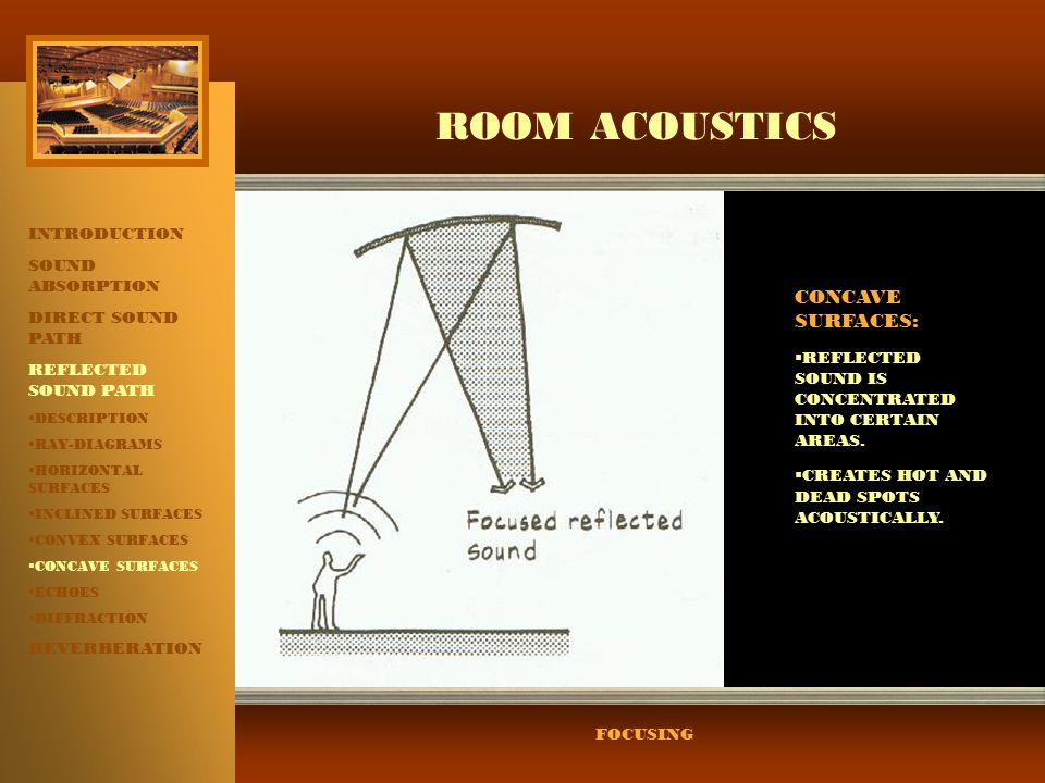 ROOM ACOUSTICS CONCAVE SURFACES: INTRODUCTION SOUND ABSORPTION