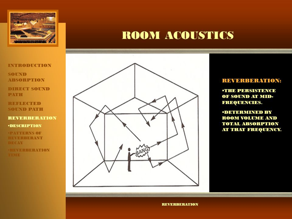 ROOM ACOUSTICS REVERBERATION: INTRODUCTION SOUND ABSORPTION