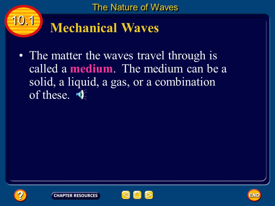 The Nature of Waves 10.1. Mechanical Waves.