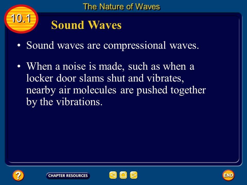 Sound Waves 10.1 Sound waves are compressional waves.