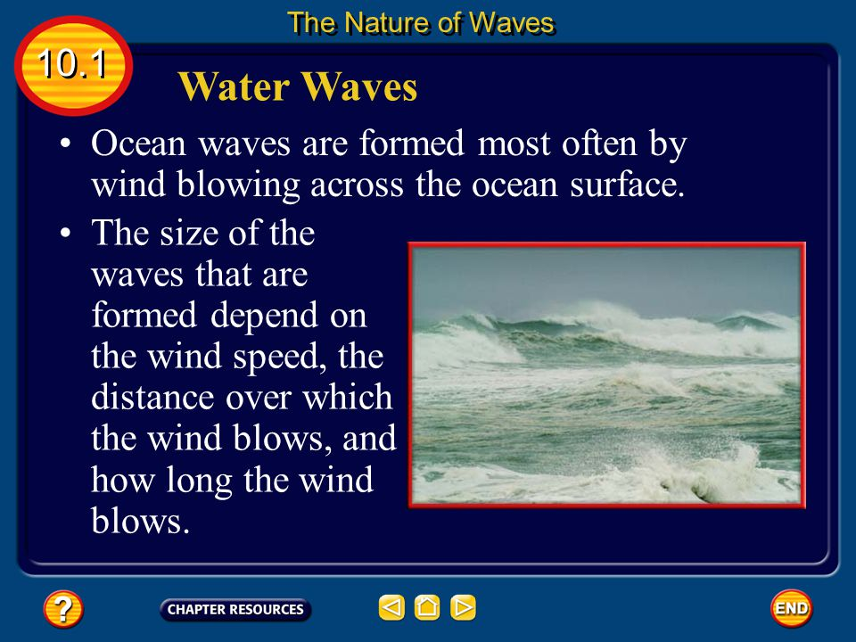 The Nature of Waves 10.1. Water Waves. Ocean waves are formed most often by wind blowing across the ocean surface.