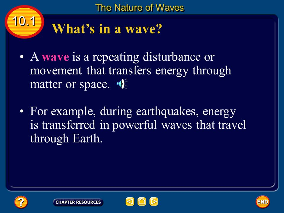The Nature of Waves 10.1. What's in a wave A wave is a repeating disturbance or movement that transfers energy through matter or space.