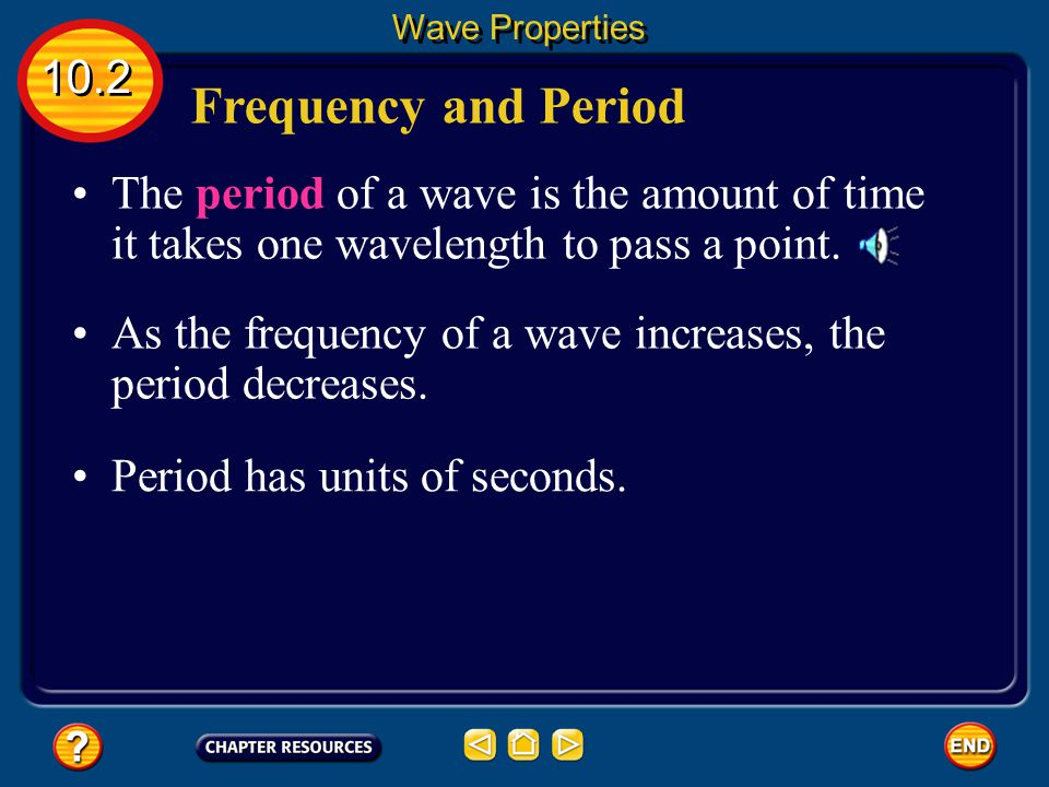 Wave Properties 10.2. Frequency and Period. The period of a wave is the amount of time it takes one wavelength to pass a point.