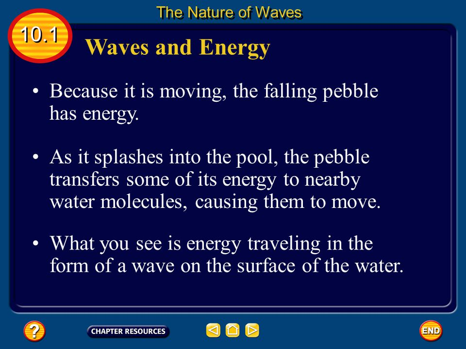 The Nature of Waves 10.1. Waves and Energy. Because it is moving, the falling pebble has energy.