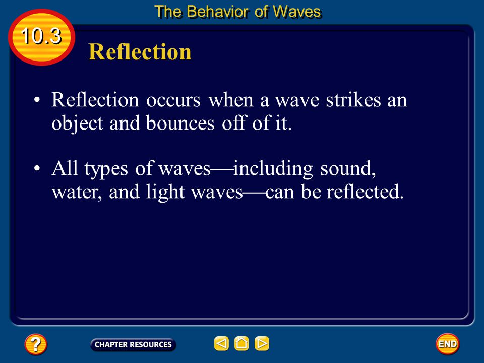 The Behavior of Waves 10.3. Reflection. Reflection occurs when a wave strikes an object and bounces off of it.