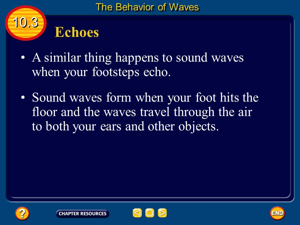 The Behavior of Waves 10.3. Echoes. A similar thing happens to sound waves when your footsteps echo.