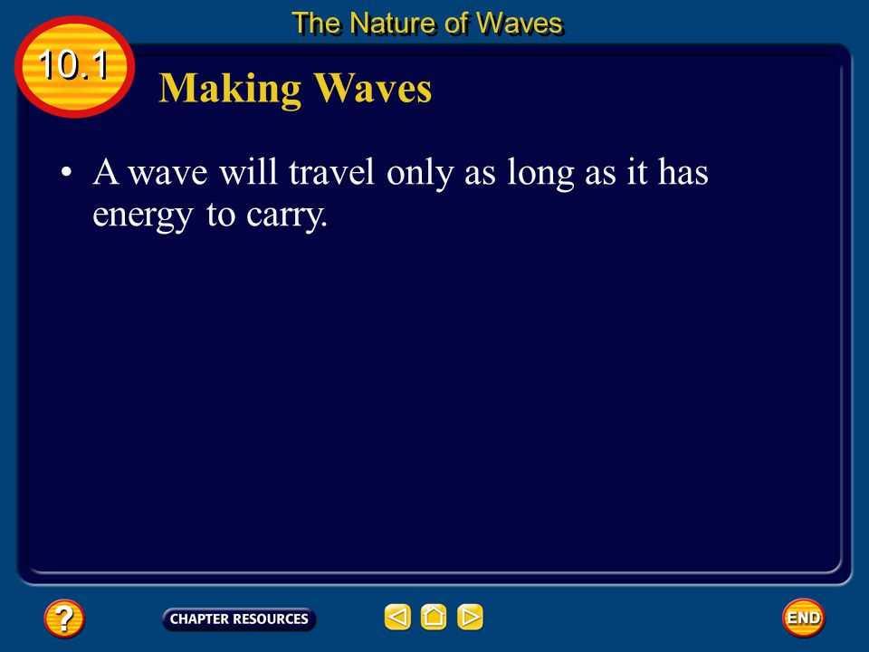 The Nature of Waves 10.1 Making Waves A wave will travel only as long as it has energy to carry.