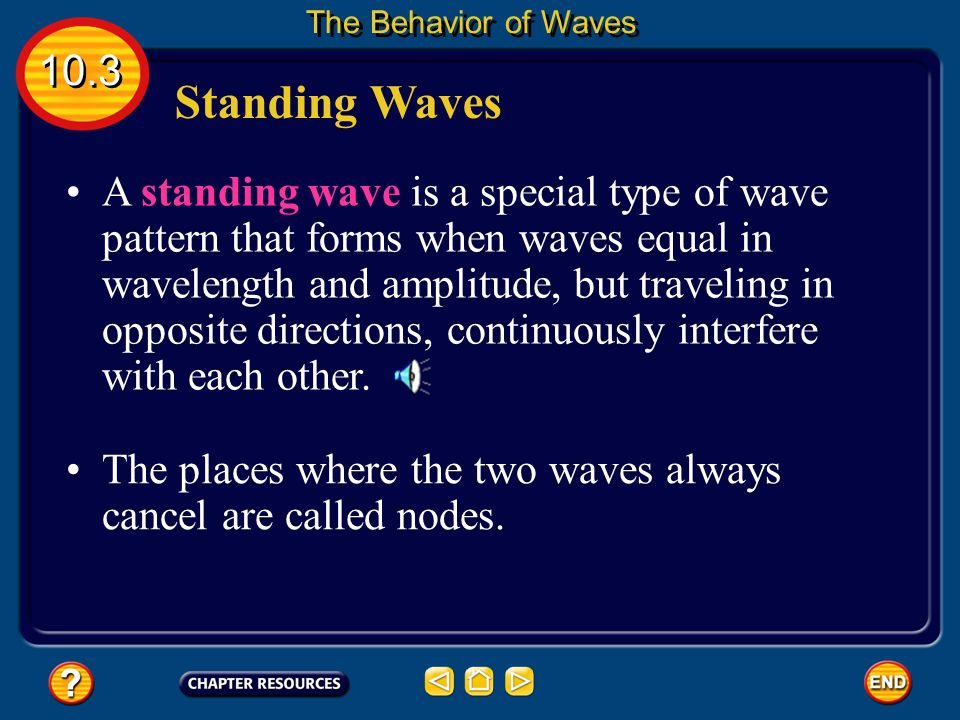 The Behavior of Waves 10.3. Standing Waves.