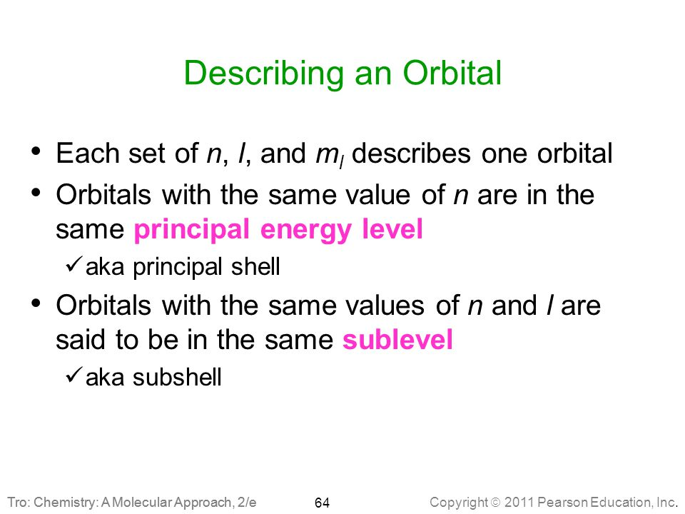 Describing an Orbital Each set of n, l, and ml describes one orbital