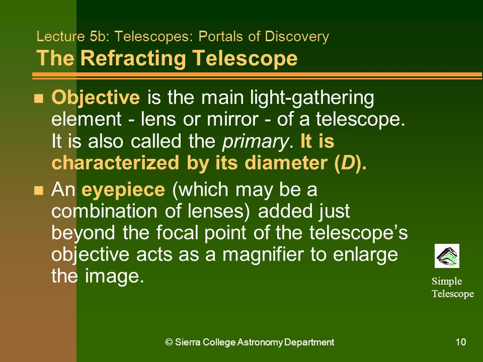 Lecture 5b: Telescopes: Portals of Discovery The Refracting Telescope