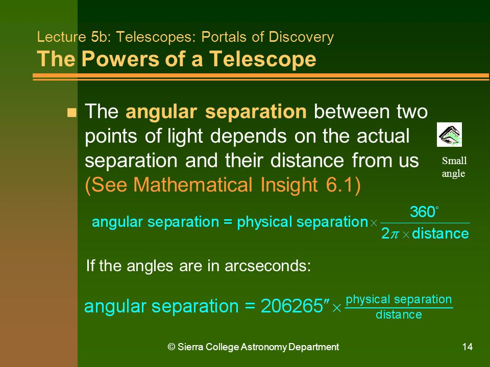 Lecture 5b: Telescopes: Portals of Discovery The Powers of a Telescope