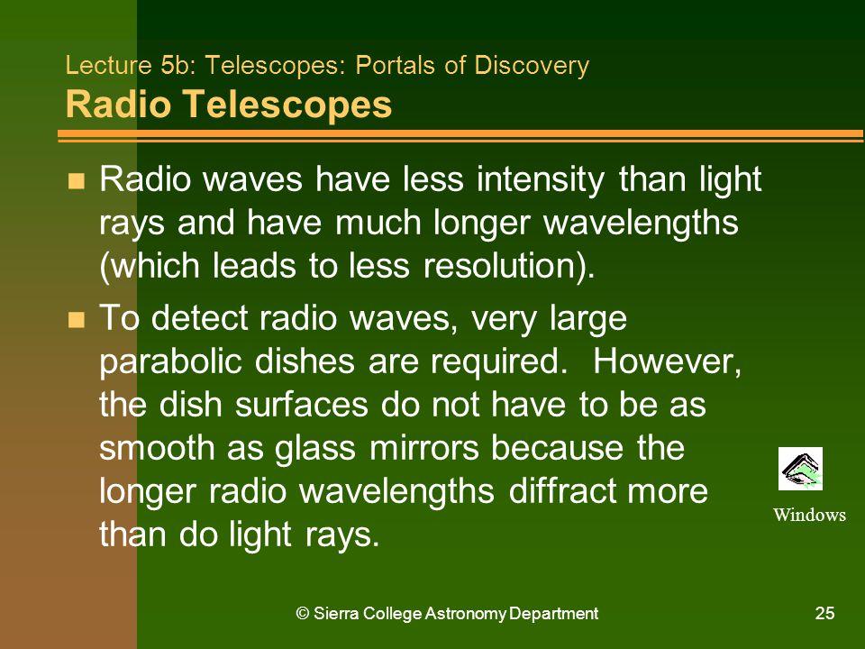 Lecture 5b: Telescopes: Portals of Discovery Radio Telescopes