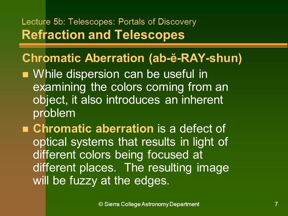 Lecture 5b: Telescopes: Portals of Discovery Refraction and Telescopes