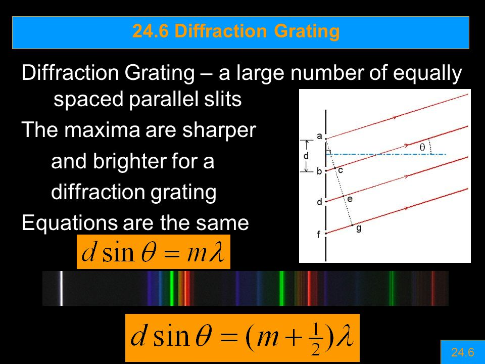 Diffraction Grating – a large number of equally spaced parallel slits