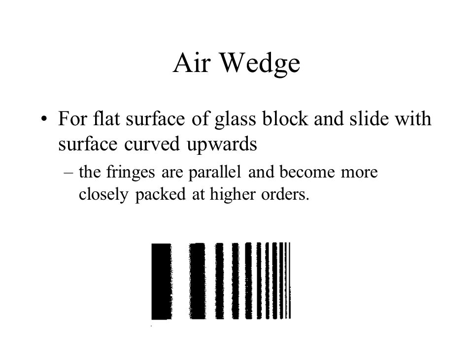 Air Wedge For flat surface of glass block and slide with surface curved upwards.
